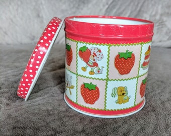 Vintage 1980's STRAWBERRY Shortcake & HUCKLEBERRY Pie American Greeting Collector's Tin- Kitty, Dog, Ladybug, Watering Can  Pattern!