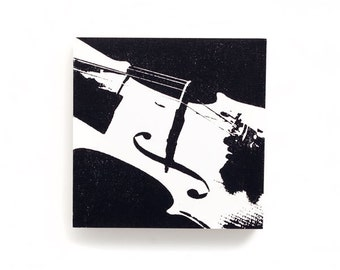 Music Wall Art: Violin Wood Canvas (6 x 6 inches, White with Black) Screen Print & Painting, Black and White Music Decor