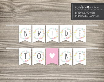 Bridal Shower Printable Banner - Floral Frame - DIY - FF01