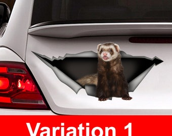 Ferret car Decal, Pet decal , Vinyl Decal, Car Decal, funny decal, ferret sticker, Laptop Decal