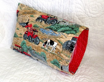 Hand Made Travel Pillow Cover / New Quilted Farm Scene Pillow Case / Quilted Pillow Cover / Tractor Pillow Case  / Travel Pillow / Tractors