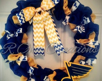 Blues Burlap Wreath