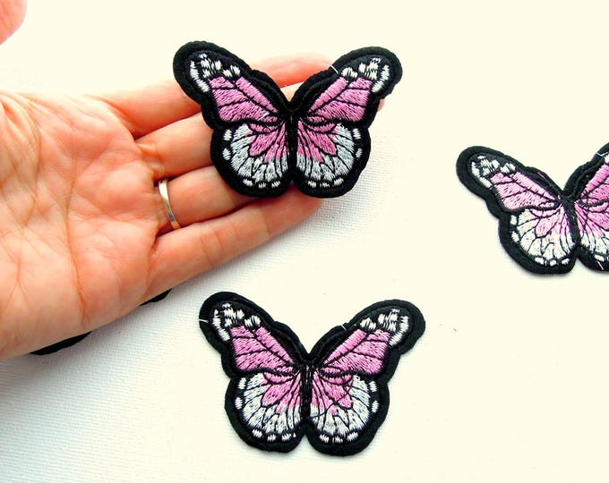 Pink white iron on butterfly patch, Butterfly iron on applique, Pink iron on patch, Pink butterfly applique, Butterfly patches
