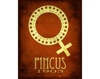 Pincus 8x10 Science Art Print - Scientist Inventor of The Pill, Contraceptive Birth Control, Women's Rights Artwork Poster, Feminist Decor