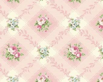 Ruru Bouquet Love Rose Love Cotton Fabric Rose ru2300-12b Roses on Pink