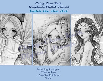 Under The Sea Set - Greyscale PRINTABLE Instant Download Digital Stamp /  Mermaid Fairy Girl Art by Ching-Chou Kuik