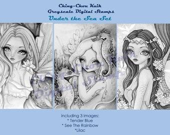 Onder de zee Set - Greyscale afdrukbare Instant Download digitale stempel / zeemeermin Fairy meisje kunst door Ching-Chou Kuik