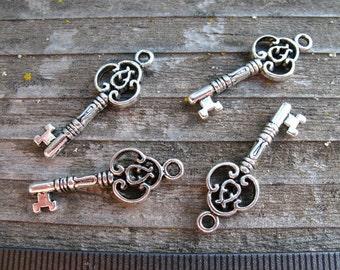 Silver Skeleton Key Charm, Filigree, 29mm, 6 pcs