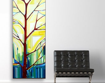 Tree Song no. 19 Plant Your Fields (20x60) original painting on canvas by Kristi Taylor