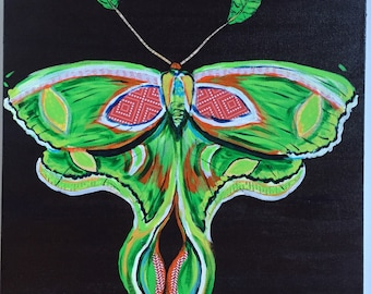 Luna Moth Original Painting Collage