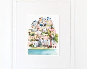 Santorini - Watercolor Art Print