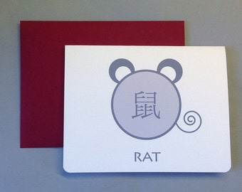 Grey/White Rat Chinese New Year A2 Folded Card