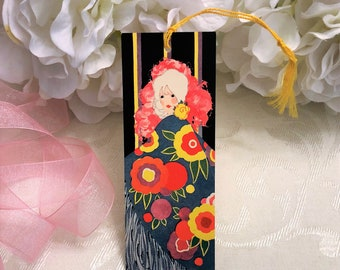 ONE Gorgeous 1920s Art Deco Bridge Tally Card, Pretty Lady in Colorful Floral Shawl, UNUSED, Volland, Vintage Antique Game, Bookmark