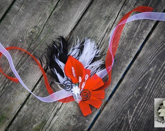 Passion Red Wrist Corsage - Calla Lily, Feathers, Lace and Bling