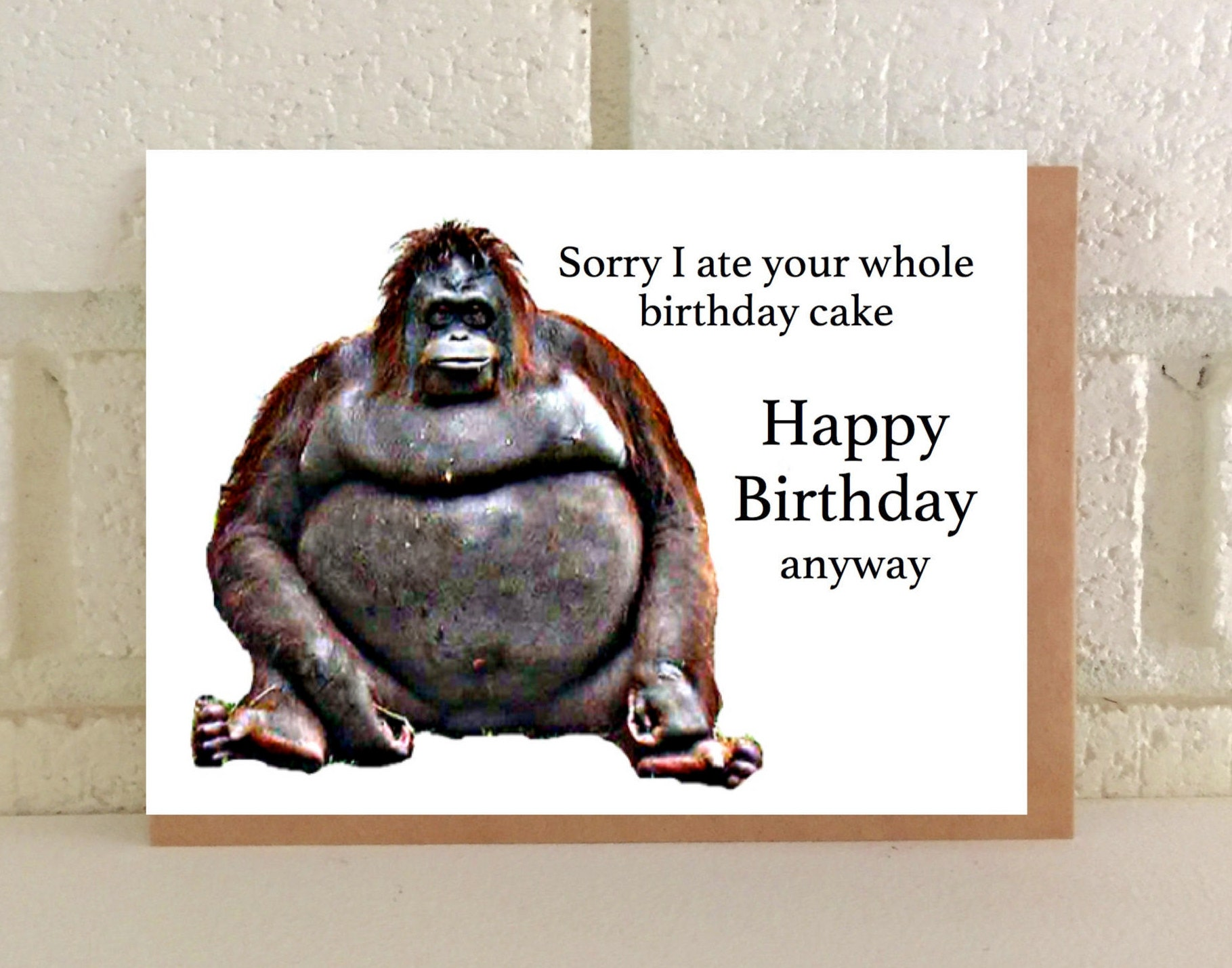 Fat Gorilla Greeting Card Birthday Funny
