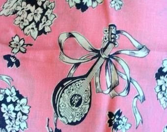 Vintage Novelty Feedsack Flour Sack Cotton Fabric //   Pretty Bubblegum PINK Background with White Mandolins  // 36 x 44