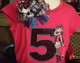 Draculaura Birthday shirt/Bow