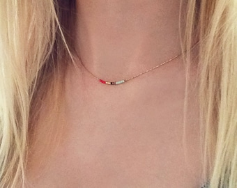 Minimalist Gold Delicate Short Necklace with Tiny Beads / Thin Boho Layering Necklace / Colorful & Simple Layered Short Necklace