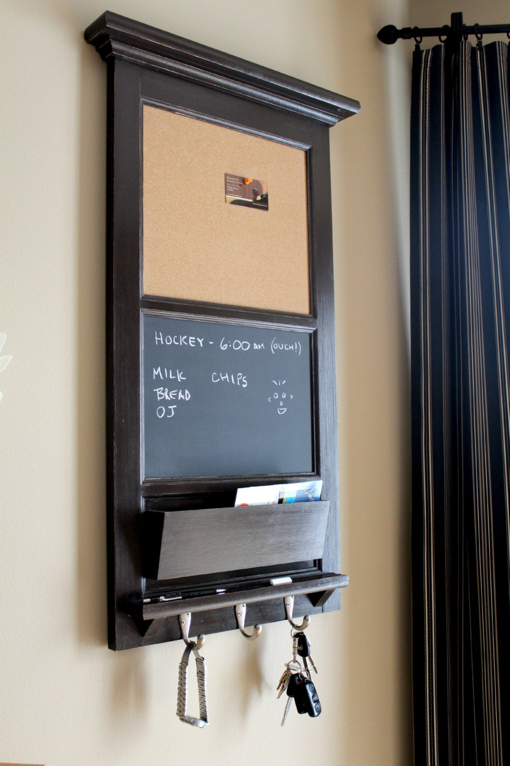 Vertical Wall Tall Chalkboard Cork Bulletin Board With Mail