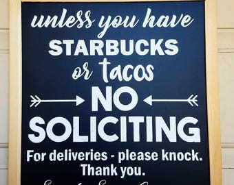 No Soliciting Starbucks or tacos sign | Do Not Disturb | Front Door Sign | No Solicitation | Funny Door Sign | Chalkboard Sign  sc 1 st  Etsy & Front door signs | Etsy