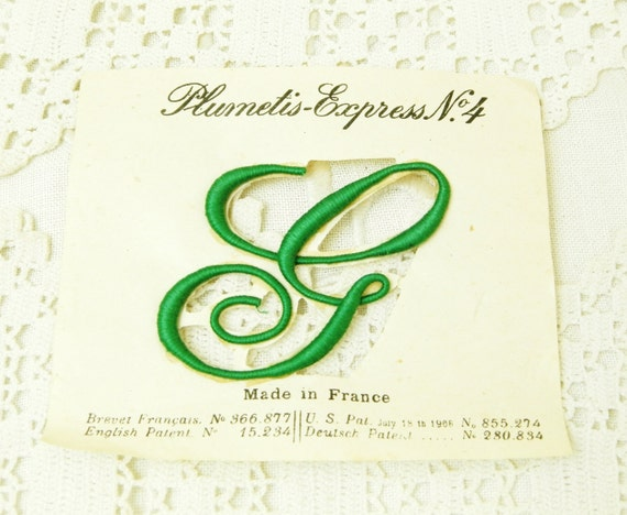 Antique French Unused Green Embroidered Cotton Letter G Ready to Sow on, Vintage Crafting Haberdashery from France, Retro Craft Supplies