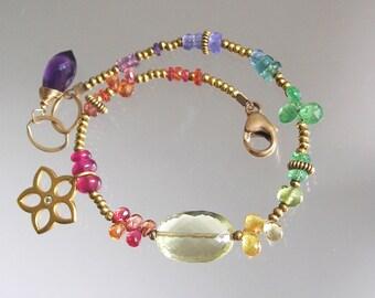Gemstone Bracelet, Rainbow Gem Gold Filled Beaded Flower Charm Bracelet with Diamond Chip, Sapphire, Lemon, Tsavorite, Layering, Artisan