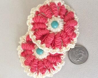 Flower medallion Barrette Pink
