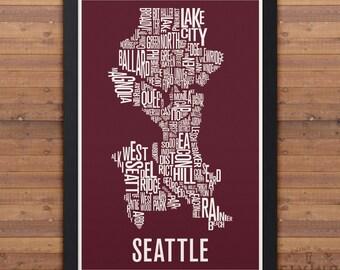 SEATTLE Neighborhood Typography City Map Print