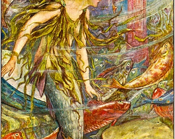 Striking MERMAID! Vintage Fairy Tale Book Illustration. Vintage DIGITAL Mermaid Download. Mermaid Digital Download. Printable Mermaid Image.