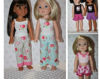 The Night Before PJ Pants and Shorts PDF sewing pattern Wellie Wishers Sized for 14 inch dolls