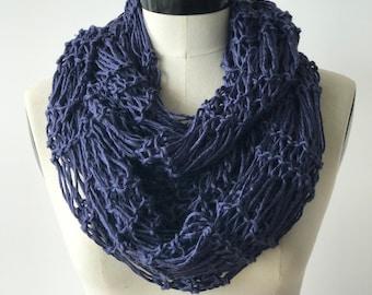 Cotton neck scarf - Handmade knit