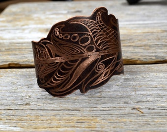 """Wanderlust - Hand Engraved Tribal Feather Cuff in Copper: """"The Drifter Cuff"""" ReaganJuel"""