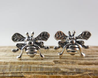 925 Sterling Silver Bee Stud Earrings, European Wasp, Bee Earrings, Bee Studs, Wasp, Bumble Bee, Insect Jewelry, Insect Studs, European Wasp