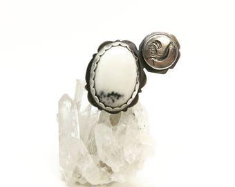 Rooster ring jasper ring white ring statement ring big ring large ring giant ring vintage button ring