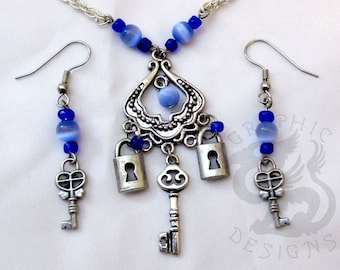 Steampunk Lock & Key Necklace and Earrings Set