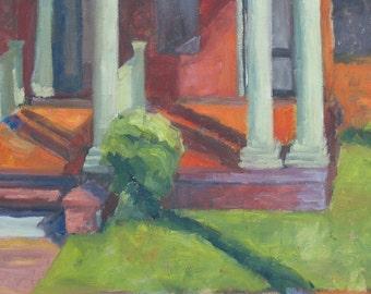 Indian Summer GICLEE ART PRINT 17 x 11 architecture building columns shadows orange green