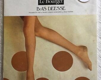 French vintage beige stockings, Vintage seamless nylon Stockings, Size 2, médium, Vintage Hosiery, LE BOURGET