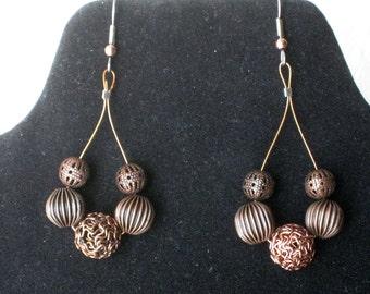 Copper beads loop earrings - Original beads work - Handmade dangle earrings - one of a kind