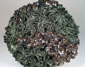 Couture Green Satin Rose And Champagne Crystal Bridal Bouquet