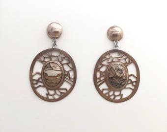 Bronze and picture jasper Earth earrings