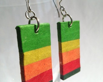 Rainbow Hanji Paper Dangle Earrings OOAK Striped Hypoallergenic hooks Lightweight Colorful Earrings Striped Rainbow Ear rings