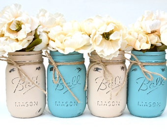 Mason Jars Bulk, Painted Mason Jars, Dorm Decor, Chic Centerpiece, Boho Centerpiece, Mason Jar Decor, Fall Centerpiece, Painted Jars, Chic
