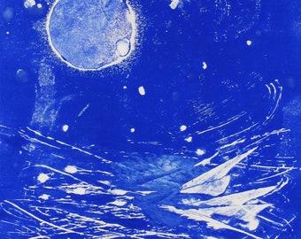"Original image, Monotype ""Blue Moon 1"", Sheet size 40 x 30 cm, motif size 30 x 20 cm, Full moon, abstract landscape, night"