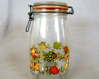 Glass Kitchen Jar with Lid and Painted Veggie Decoration
