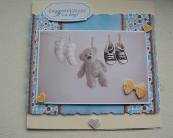 """Congratulations"" 3D boy birth congratulations card"