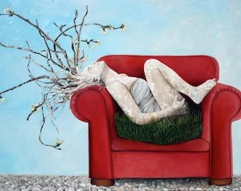 painting - oil on canvas - red chair - figurative art - Australian artist - plum blossom - branches - woman - narrative - Katka Adams - art