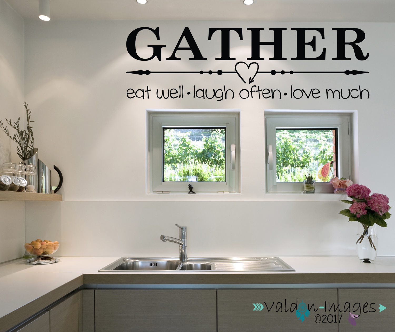 Gather Quote Wall Decal Farmhouse Wall Decor Country Kitchen
