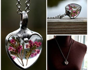 Heather Necklaces for Women, Pink Heather Heart, Sweetheart Jewelry, Ready to Ship, Women's Necklaces, Handmade Heart Necklaces (2495)