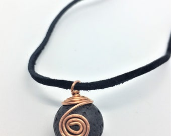 Lava Stone Necklace Copper Lava Stone Leather Necklace Wire Wrapped Lava Stone Wire Wrapped Necklace Lava Stone Pendant Aromatherapy Pendant