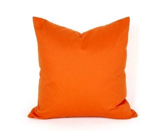 Orange Throw Pillow, Solid Orange Pillow, Decorative Pillow, Sofa Pillow Covers, Vibrant Pillows, Spring Home Decor, 12x18, 18x18